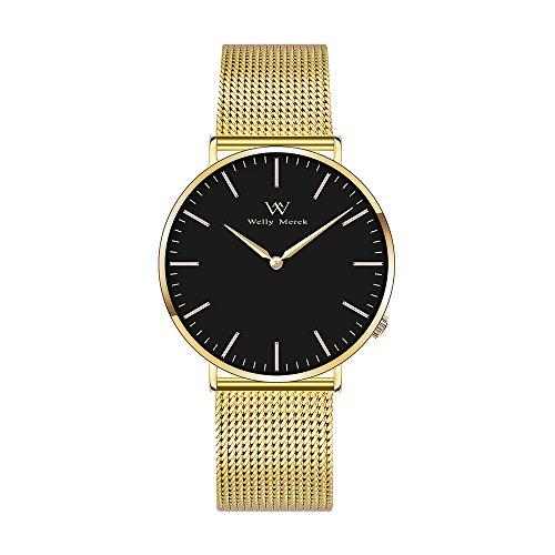 Welly Merck Women's Luxury Watch Minimalist Quartz Movement Sapphire Crystal Analog Wrist Watch with Gold Stainless Steel 18mm Width Mesh Interchangeable Strap, 5 ATM Water Resistant