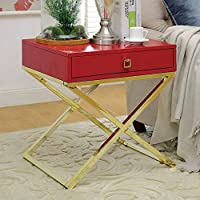 Furniture of America CM-AC511RD Rhona Red Side Table End Nesting