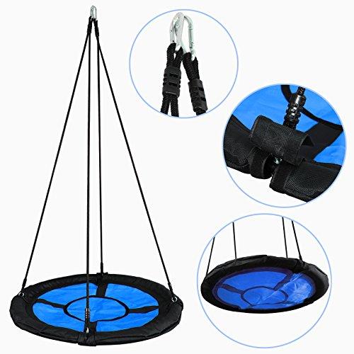 "Nouva Saucer Tree SwingSet,40"" Web Tree Swing Used On Tree Or Swing Set 400 lb Weight Capacity Waterproof for Kids Adults Teens,Blue"