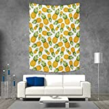 smallbeefly Yellow White Tapestry Table Cover Bedspread Beach Towel Pineapples Tropical Climate Fruits Sweet Ripe Juicy Food Dorm Decor Beach Blanket 40W x 60L INCH Earth Yellow Green White