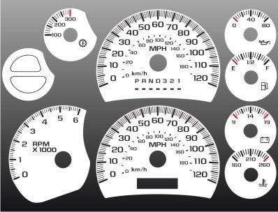 - 2003-2007 Chevrolet Silverado Truck GAS White Face Gauges