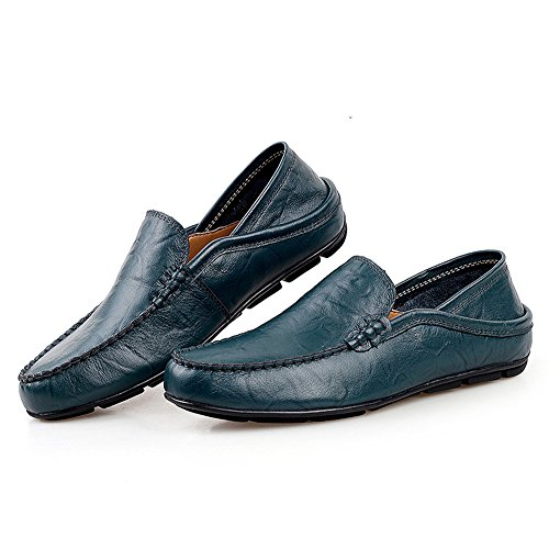 pespunte Hombre Shoes PU Plano Mocasines Azul AgeeMi dqITwI