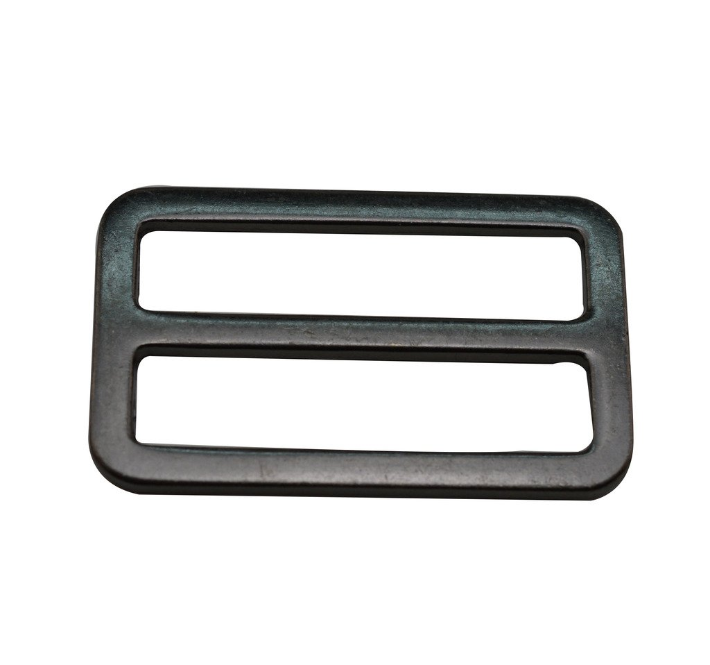 Amanaote Gun Black 1.5X0.75 Inner Dimension Rectangle Buckle with Fixed Bar for Strap Pack of 6