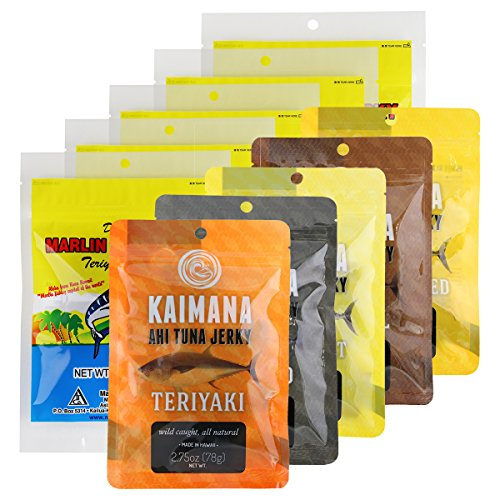 Kaimana Jerky Ahi Tuna Jerky and Marlin Jerky Variety Bundle 10 Pack - 10 unique flavors included. Original, Teriyaki, Peppered Tuna Jerky and more. All Natural & Wild Caught Fish. Made in USA. - Flavor Fish Jerky