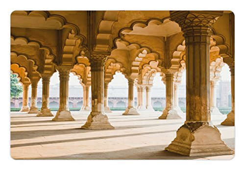 Ambesonne Pillar Pet Mat for Food and Water, Historical Theme Gallery of Pillars at Agra Fort Digital Image, Rectangle Non-Slip Rubber Mat for Dogs and Cats, Pale Coffee and Beige