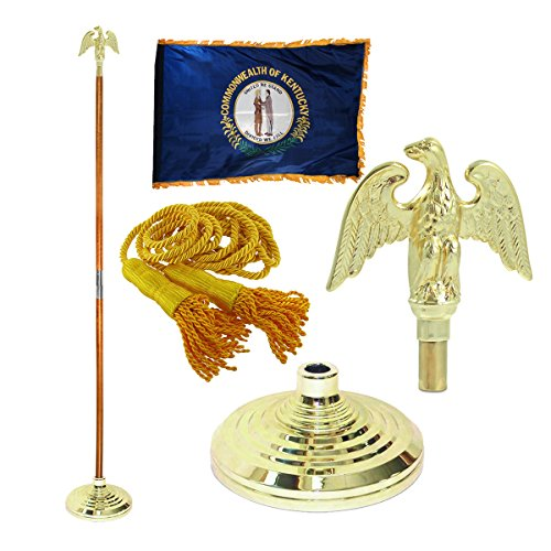 Super Tough Kentucky 3ft x 5ft Flag, Flagpole, Base, and Tassel (Metal Eagle, 8 Ft Oak Pole)