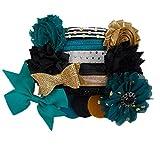 Black & Teal - Mini DIY Headband Kit - Makes 6 Headbands - Baby Shower Headband Station - Fashion Headbands for Birthday Party & Baby Shower Games