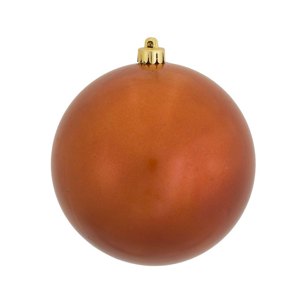 Vickerman Candy Finish Seamless Shatterproof Christmas Ball Ornament, UV Resistant with Drilled Cap, 4 per Bag, 4.75'', Burnish Orange