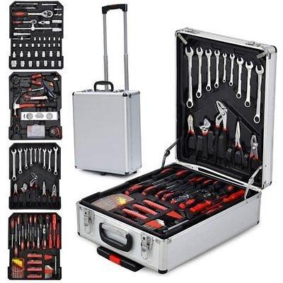 Femor 599-teilige Universal Werkzeugkasten mit Werkzeug Alu-Rollkoffer im praktischen Koffer mit hochwertige Arbeitshandschuhe