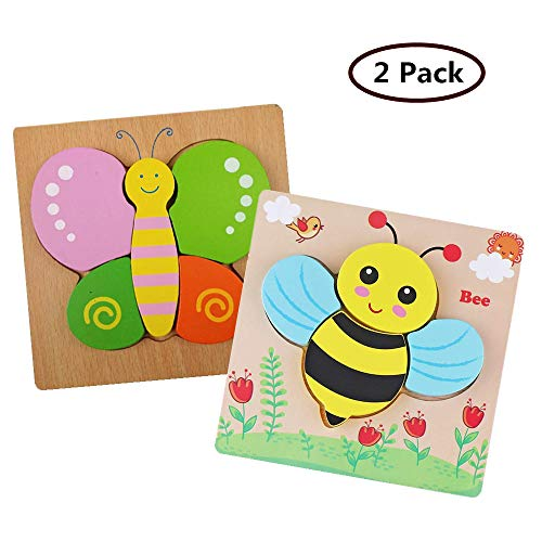DDMY Wooden Jigsaw Puzzles Set for Kids Age 1 2 3 4 Year Old, [2 Pack] Animals Puzzles for Toddler Children for Color Shapes Cognition Skill Learning Educational Puzzles Toys for Boys and Girls Gifts (Wooden Toys For 1 2 Year Olds)