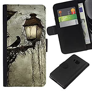 Planetar® Modelo colorido cuero carpeta tirón caso cubierta piel Holster Funda protección Para HTC One M7 ( Lámpara Crow Somber Spooky Noche)