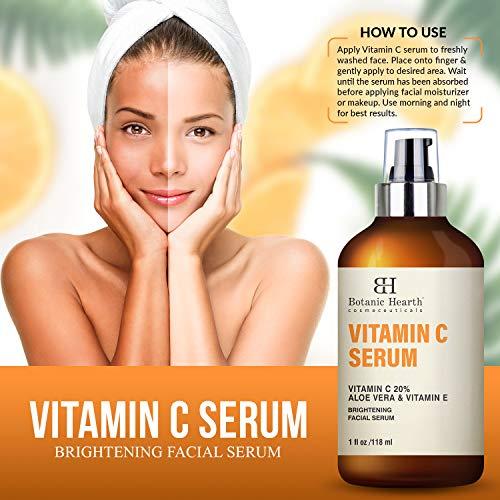 51u8namzoRL - BOTANIC HEARTH Vitamin C Serum for Face - Skin Brightening Facial Serum with Aloe Vera & Vitamin E, Anti Aging, Advanced Skin Care - 1 fl oz