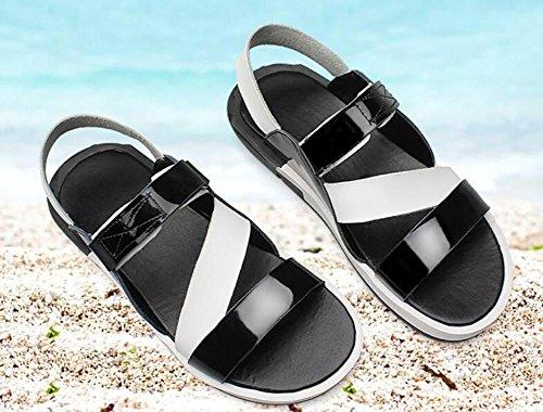 Flip Hecho a al Sandalias Ocio Flop Aire Libre SYYAN Cuero Playa Respirable Hombres black Mano Antideslizante wCqw1z0Yx