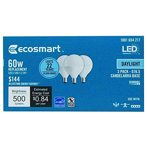 EcoSmart 60W Equivalent Daylight Dimmable LED Light Bulbs G16.5 Candelabra Base (3 Pack)