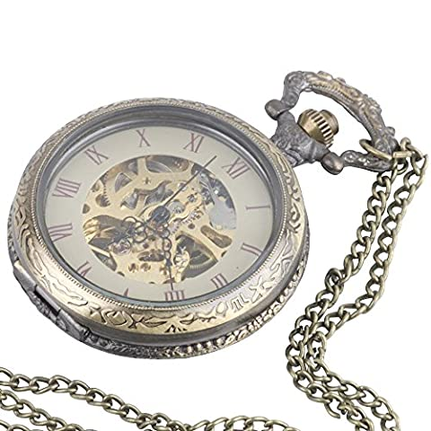 81stgeneration Women's Brass Vintage Style Mechanical Pocket Watch Chain Pendant Necklace, 78 cm (Vintage Style Pocket Watch)