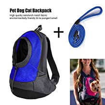 Pet Dog Cat Carrier Backpack Outdoor Travel Back or Front Chest Portable Carrier Shoulder Bag Sling With Pet Nylon Leash (Blue)