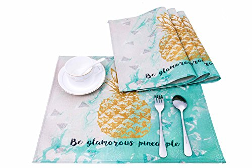 HONEYJOY 4 Pcs Washable Cotton Linen Placemats Textile Rectangle Heat-resistant Non-slip Non-fading Decorative Dining Table Mats Set for Home Kitchen Office Pineapple Pattern Green (13'' x 17'') by HONEYJOY (Image #6)