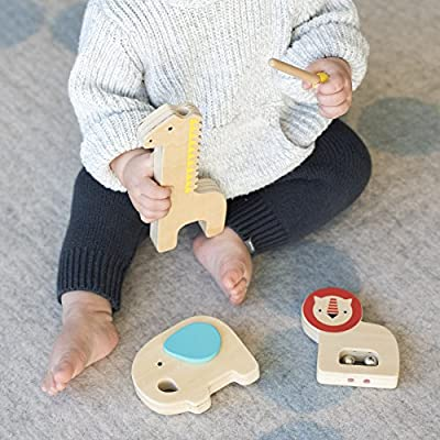 Petit Collage Wood Musical Instruments, Safari : Baby