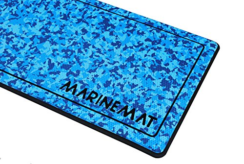 Anti-Fatigue Boat Mat, Helm Pad by Marine Mat (Ocean Camo Dimpled/Black, Border, 36in x 14in)
