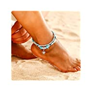 Beach Anklets Starfish Turtle Anklet Multilayer Turquoise Stone Charm Beads Shell Boho Heart Foot...