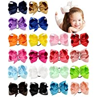b8ee2cad2 20 Pcs 6 8 Inch Large Solid Bow Hairpin Girls Bows With Rope or Clip Hair