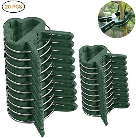 Kylewo 20 Pflanzenklammern stabile Clip, Pflanzenclips Pflanzenklammern Pflanzenhalter Pflanzenbinder Rankhilfen für Pflanzen Sicherung Unterstützt Einzupflanzen in 2 Größen (10 große + 10 kleine)