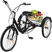Happybuy 24 Inch Adult Tricycle Series 6/7 Speed 3 Wheel Bike Adult Tricycle Trike Cruise Bike Large Size Bask