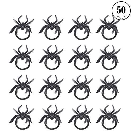 (Gaiatop Spider Rings, 50 Piece Plastic Napkin Rings Cupcake Topper Halloween Party Favors Trick Or Treat Bags Gift Black)