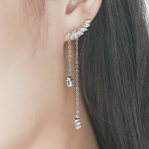 EVER SHINE Ear Climber Crawler Pierced Stud Fringed Tassel Drop Dangle Earrings Silver Plated Angel Wings