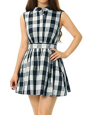 Allegra K Women's Sleeveless Flared Belted Mini Plaid Shirt Dress