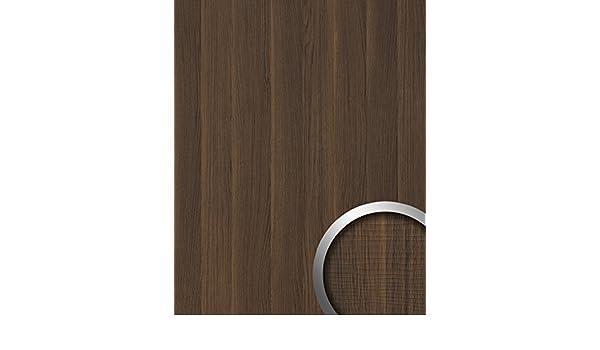 Panel decorativo aspecto madera WallFace 19030 NUTWOOD nogal decoración de madera tacto natural revestimiento mural autoadhesivo marrón oscuro 2,60 m2: ...