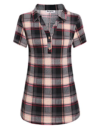 Print Shirt Vintage Polo (Becanbe Business Casual Clothes for Women, Pullover Knitted Soft Polo Clothing Boutique Vintage Plaid Collared Shirt Casual Short Sleeve Button Down Lapel Tops and Blouses for Work(Red,X-Large))