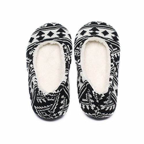 Ofoot Women's Acrylic Fibers Jacquard Ballerina Slippers with Snowflake Patterns (Medium / 7-8 B(M) US, Black) Photo #7