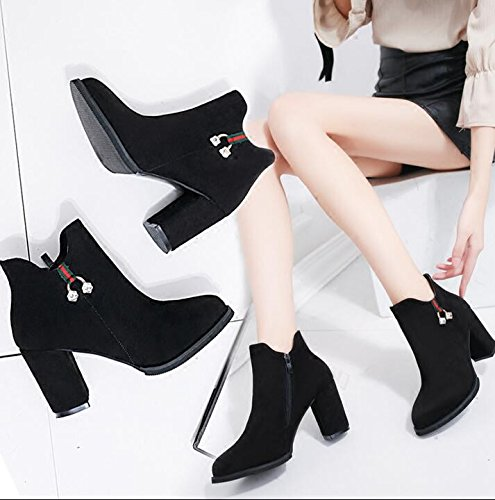 KHSKX-The Thick Black With Round Head High-Heeled Shoes Woman Martin Short Boots And Shoes Korean Version Of The Spring And Autumn And Winter Water Drilling Single Boots Cotton Boots Tide 37 ku9mWKmxAJ