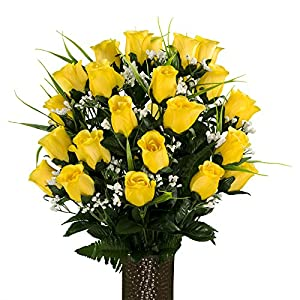 Yellow Roses with Lily Grass, featuring the Stay-In-The-Vase Design(C) Flower Holder (MD1994) 105