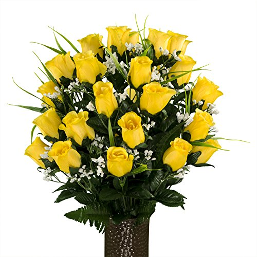 Sympathy Silks Artificial Cemetery Flowers - Realistic - Outdoor Grave Decorations - Non-Bleed Colors, and Easy Fit -Yellow Rose with Lily Grass - with Flower Holder
