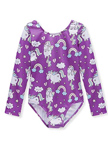 Gymnastics Leotards Long Sleeve for Girls 7-8 Years