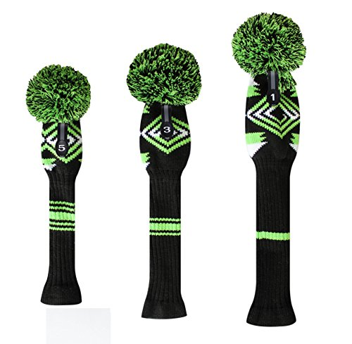 Scott Edward Individualized Abstractionism Pattern,green Black White Golf Pom Pom Headcovers, Soft and Thick, Big Pom Pom (Headcover Tiger White)
