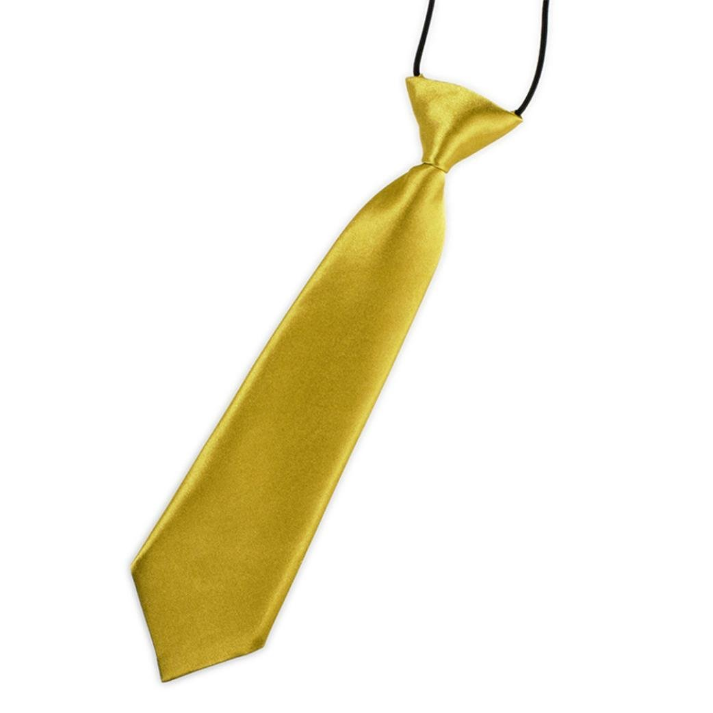 Kids Baby Boys New School Cute Children Wedding Solid Color Fashion Tie Necktie (Yellow O)