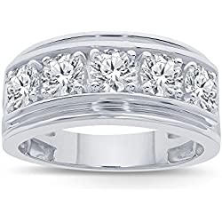 2.00 Cttw Round White Simulated Diamond 925 Sterling Silver Men's Ring (10)