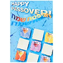 "Passover, 6 Colorful Greeting Cards ""Happy Passover"" in English and Hebrew Matzah & Wine Cup Design ""Happy Passover"" Lettering in Hebrew Size: 5"" High x 3.5""Printed in Israel"