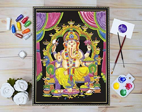 Designs Emboss - Asian Hobby Crafts Emboss Painting Kit - Velvet Fabric, Pearl Colors, Glitter, Paint Brush (Design 295)