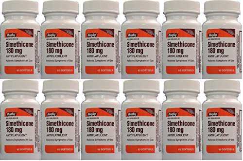 Simethicone 180mg Softgels Anti-Gas Generic for Phazyme Ultra Strength 60 Gelcaps per Bottle Pack of 12 Total 720 Gelcaps