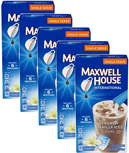 Maxwell House International Cafe Iced Latte Cafe-Style Beverage Mix, Single Serve Packets, 3.42 OZ, French Vanilla 6 ea (pack of 5) by MAXWELL HOUSE