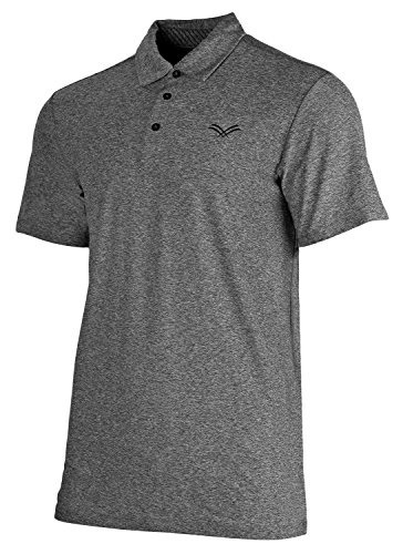 Golf Plain Performance Polo - Urban Fox Men's Golf Shirts for Men | Short Sleeve Performance Polo Shirts for Men | Heather Dry Fit | Moisture Wicking | Black Medium