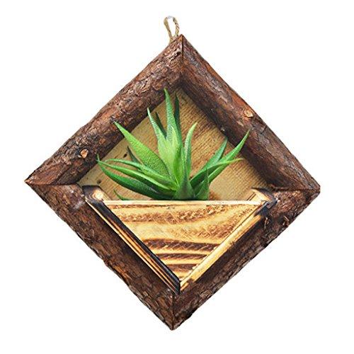 Homyl Hanging Frame Wooden Flower Pot Square Wood Storage Garden Basket Wall Decor - ()