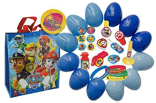 Nickelodeon Paw Patrol Kids Toy-Filled Easter Eggs & Matching Paw Patrol Egg Hunt Loot Bag! Plus Bonus Kids Holographic Holiday Pin!