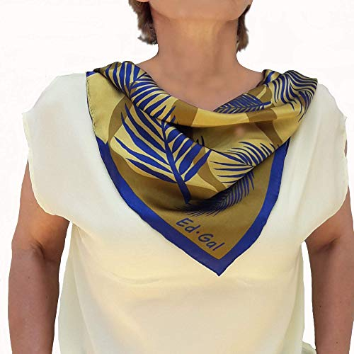 - Small Neck Silk Scarf Old Gold with Blue Leaves Hand Painted and Printed