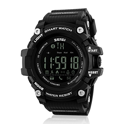 JOYSAE Men's Sport Watches Digital, Bluetooth LED Water Resistant Watch with Dual Time Smartwatch Remote Shooting Alarm Reminding and Black Fitness Tracker by JOYSAE