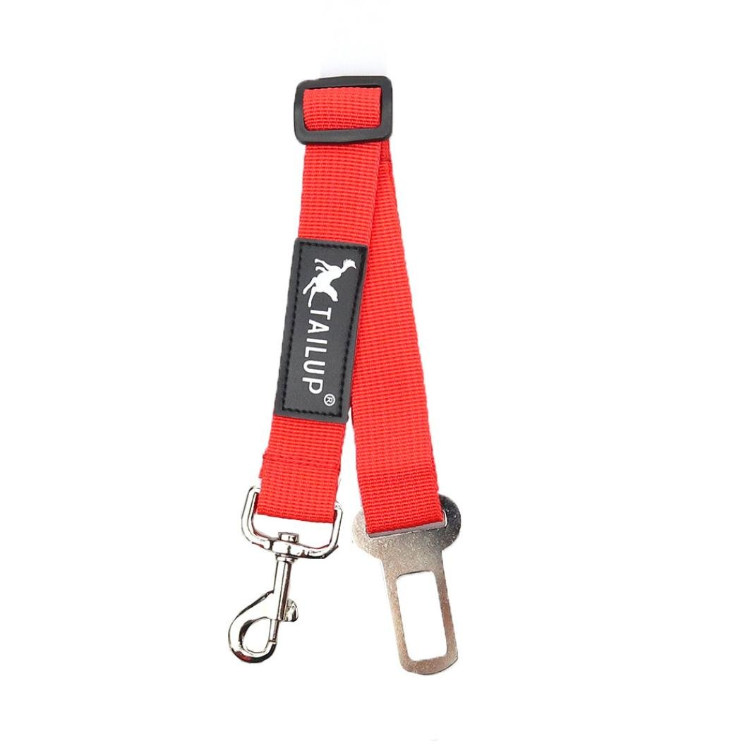 Jeeke Pet Dog Car Seat Belt,Adjustable and Durable Safety Leads Car Seatbelt Harness (Red, M)